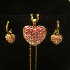 Pink Heart Rhinestone Necklace & Earrings Set